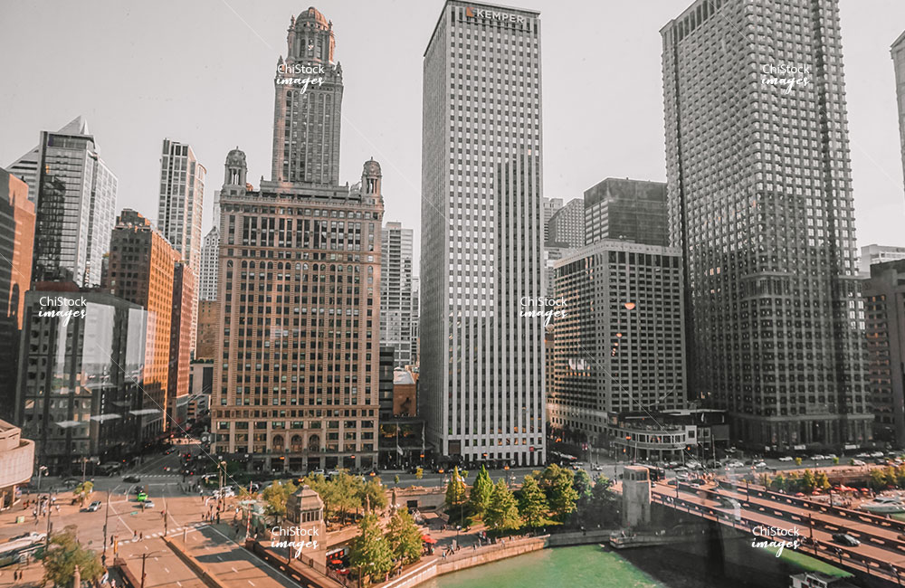 Residential and Office Buildings along Wacker Drive and Chicago River