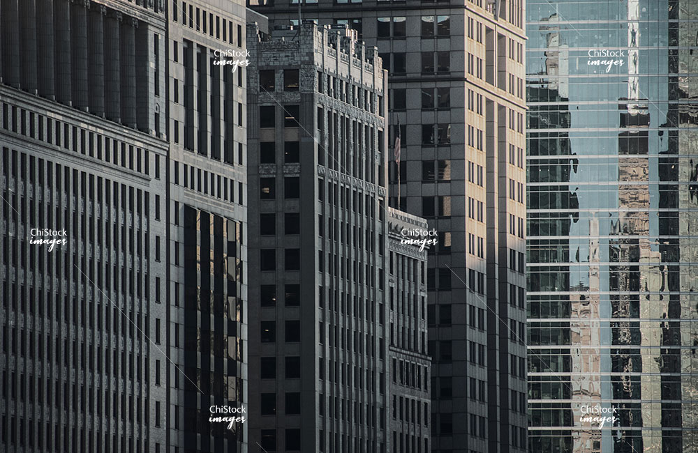 Downtown Chicago Office Towers at Golden Hour