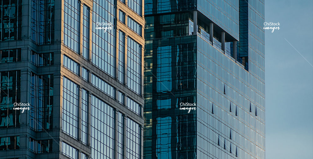 Downtown Chicago Glass Office and Hotel Towers at Golden Hour