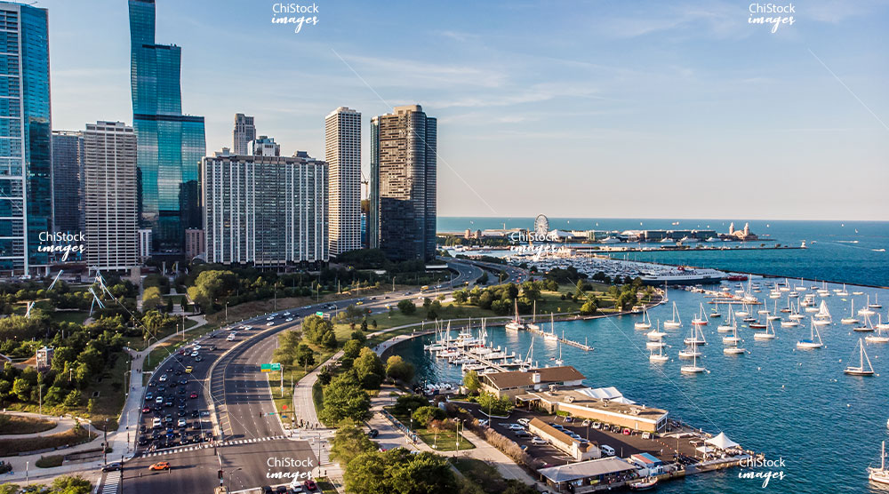 Lake Shore Drive and the Lakefront Trail on a Summer Afternoon