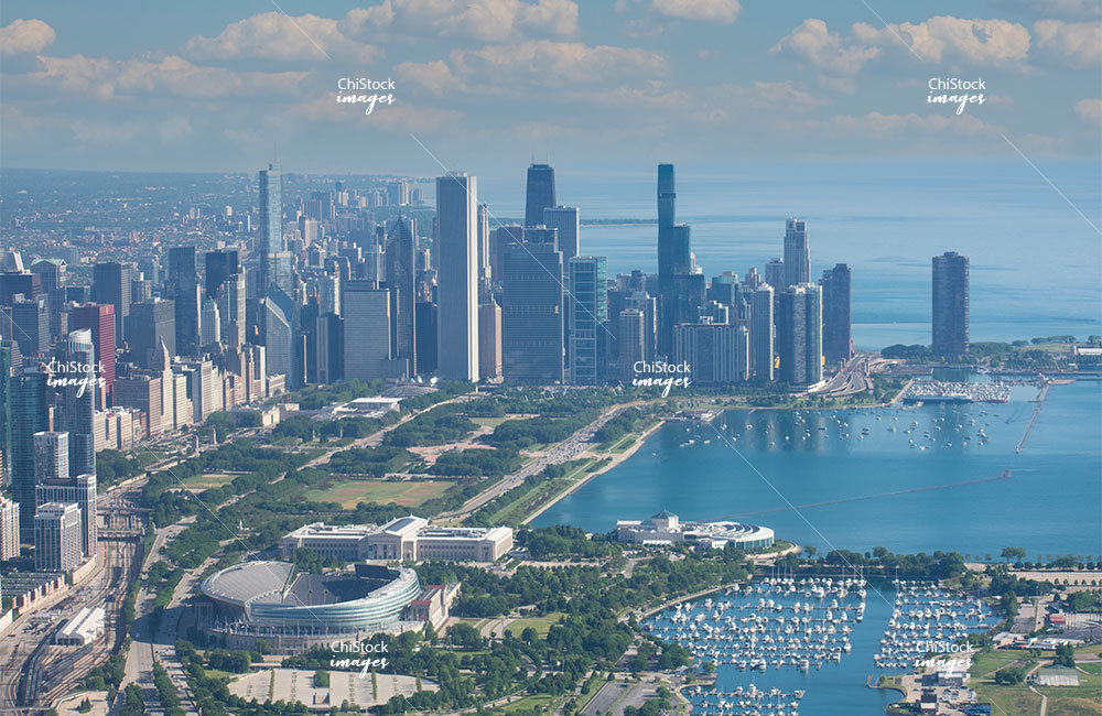 Aerial View of the Downtown Chicago Skyline From Above