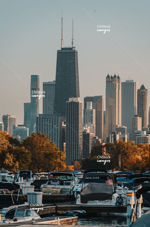 Chicago Skyline Seen From Lincoln Park Diversey Harbor on a Warm Autumn Day