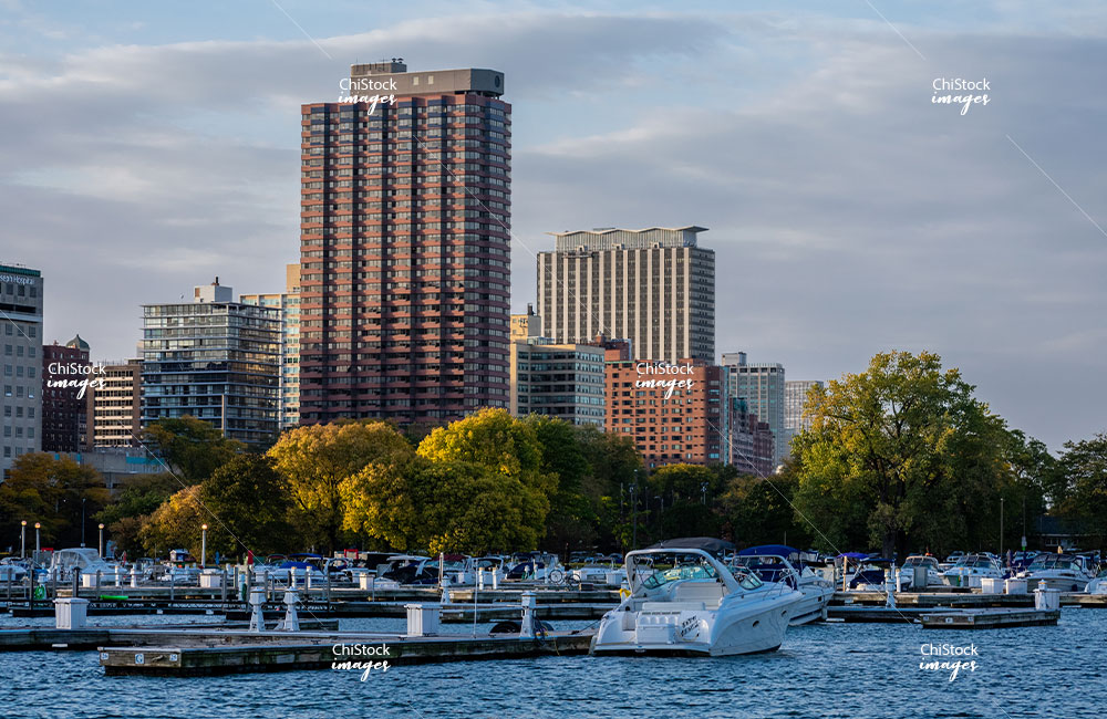 Diversey Harbor and Residential Architecture at Sunset in Lincoln Park Chicago