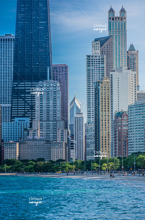 Magnificent Mile and Gold Coast Skyline along Chicago's Lakefront