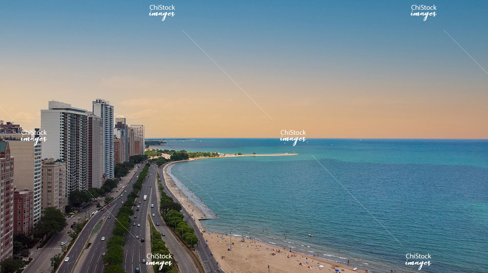 Near North Side Above The Concrete Beach Lake Shore Drive Aerial View at Sunrise