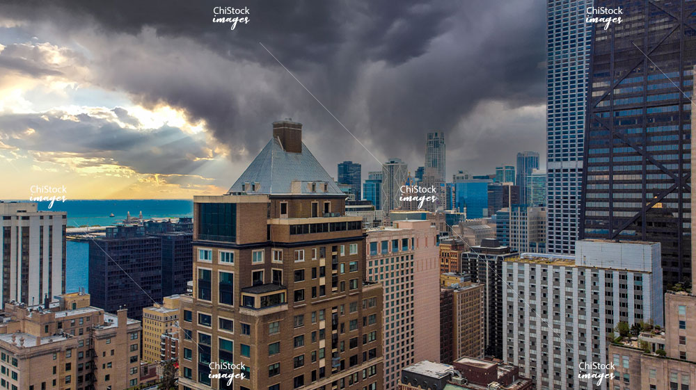 Aerial View of Stormy Sky over Streeterville Skyline at Golden Hour Near North Side Chicago