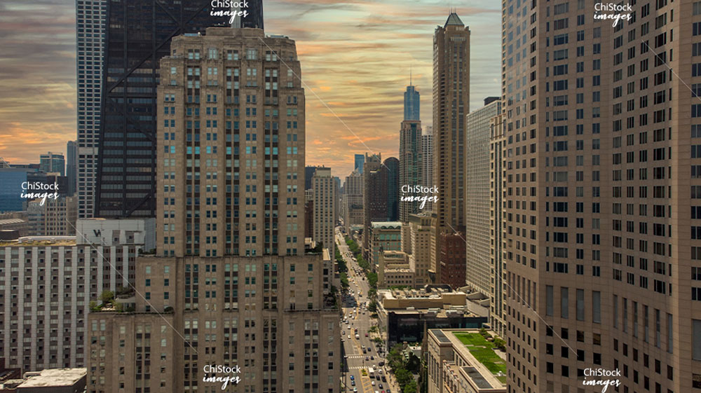 Near North Side Above Michigan Avenue Magnificent Mile Looking South at Sunset