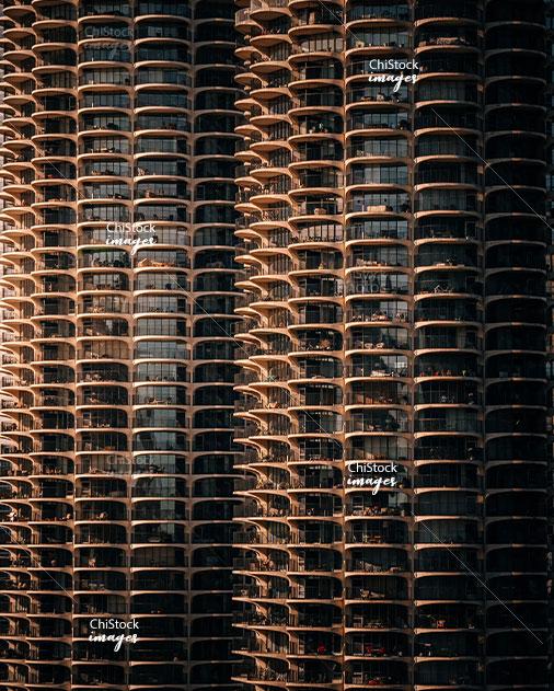 Perfectly Framed Marina City Balconies by Goldberg, Near North Side Chicago