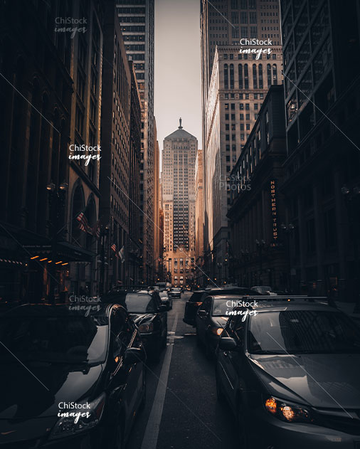 Traffic on busy LaSalle Street, Financial District Downtown Loop Chicago