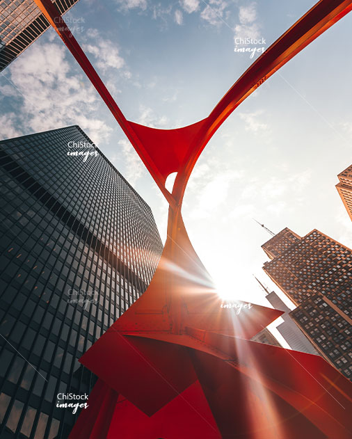 Looking Up From Under the Calder's Flamingo at The Federal Plaza Loop Chicago
