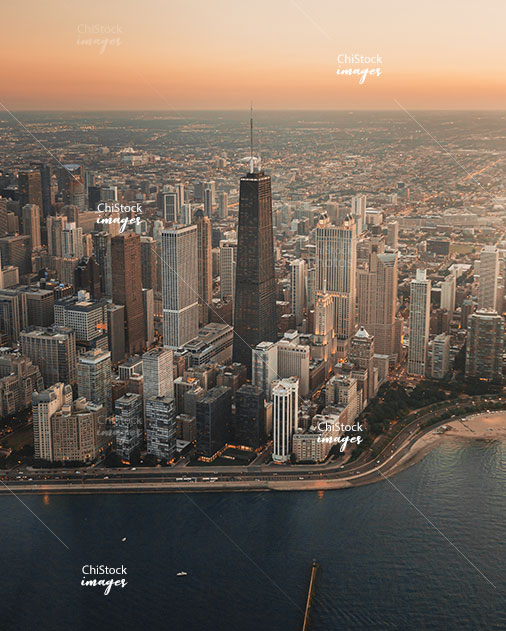 Lake Shore Drive and the Chicago Skyline in the Evening seen from Above