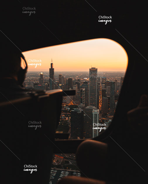 Chicago Skyline During a Beautiful Sunset Taken From Inside a Helicopter