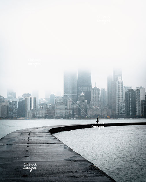 Chicago Skyline on a Foggy Day seen from the North Avenue Beach